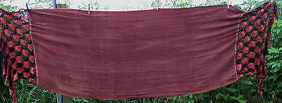 """VERY OLD ANTIQUE PIANO RUNNER 100"""" LONG x 30"""" SCARF THROW FRINGED SILK"""