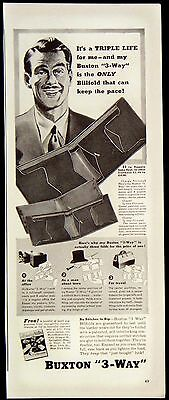 1942 Man's Buxton 3-Way Leather Billfold Wallet Magazine Ad For Travel Office