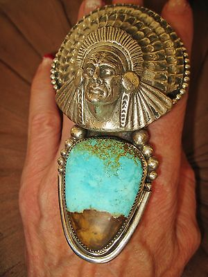 NAVAJO CHAVEZ - STUNNING INDIAN CHIEF HEAD DRESS TURQUOISE RING, 139 grams