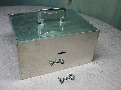 Antique Chrome or Nickel Plated Steel Fire Safe Cash Strong Box w/ 2 Keys