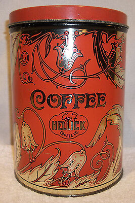 Large Antique Geo. F Hellick Coffee Co Canister Tin VERY NICE CONDITION