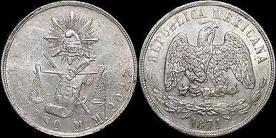 1871 Mo M Mexico Peso ~ Uncirculated Details ~ 90.3% Silver ~ KM#408.5