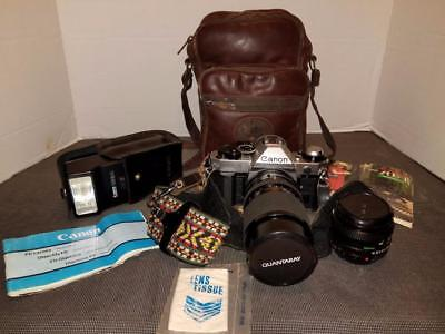 Vintage Canon AE-1 Camera With 2 Lenses & Flash And More