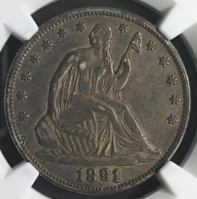 Freshly Graded 1891 U.s. Liberty Seated 50 Cent Half  Ngc Au Details Stained