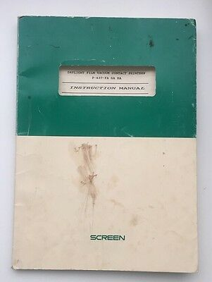Instruction Manual: Screen Daylight Film Vacuum Contact Printer P-637-FA GA HA