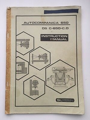 Instruction Manual for AutoCompanica 650 Camera DS C-650-C.D Screen Pre-Press