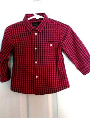 Mayoral Baby Navy and Red Check Long Sleeve Shirt, Size 9 months
