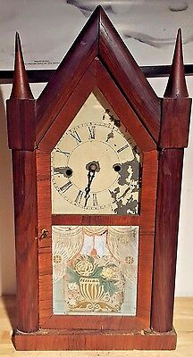 Antique Chauncey Jerome Steeple Mantel Clock Wood Case