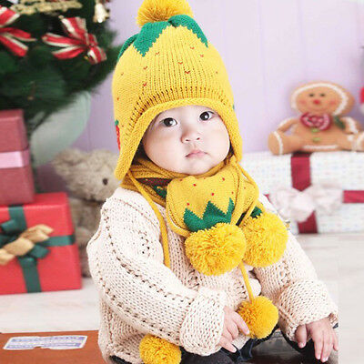 Winter Baby Hat Scarf Boys Girls Infant Strawberry Woolen Ball Scarf Caps  US