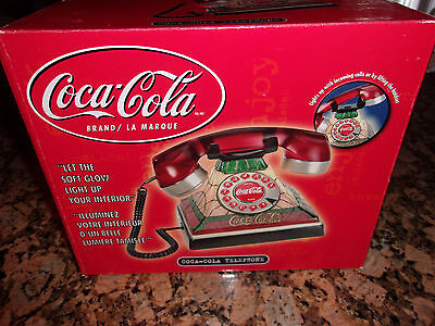 Vintage Style Coca Cola Lighted Stained Glass Look Telephone-New In Box-2002