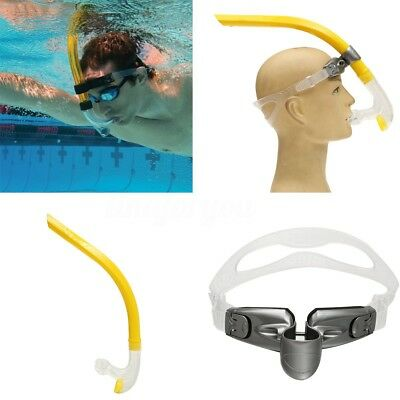YELLOW Swimmer's Snorkel Silicone Air-Ease Center Front-mount Swimming Training