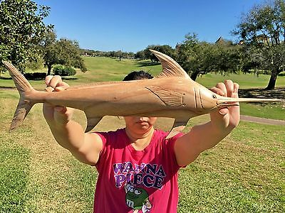 "Gorgeous Handchiseled  20"" Long Natural Wood Marlin Wall Art Decor With Hanger!"
