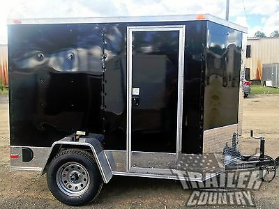 NEW 5x8 5 x 8 V-Nose Enclosed Cargo Motorcycle Trailer Ramp & Side Door + Color