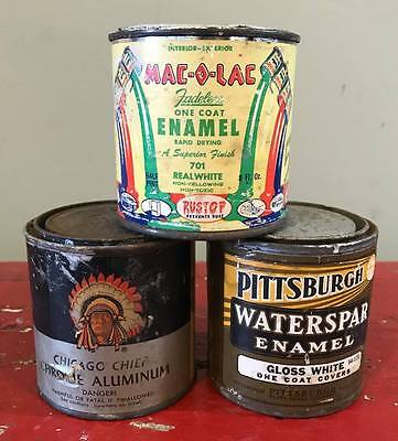 Vintage Lot of 3 1/2 Pint Paint Cans,Pittsburgh Waterspar Enamel,Chief,Mac-O-Lac