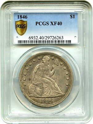 1846 $1 PCGS XF40 - Low Mintage Date - Liberty Seated Dollar - Low Mintage Date