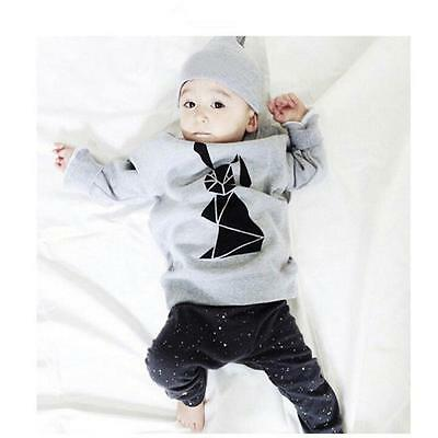 Baby Boys Toddler Kids Long Sleeve T-shirt Tops+Pants Clothes Outfits Set 100 US