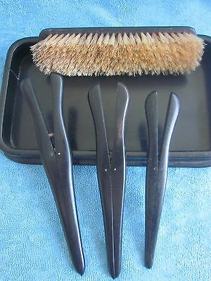 5 pc vintage ebony wood DRESSING SET - tray, 3 glove stretchers, clothes brush