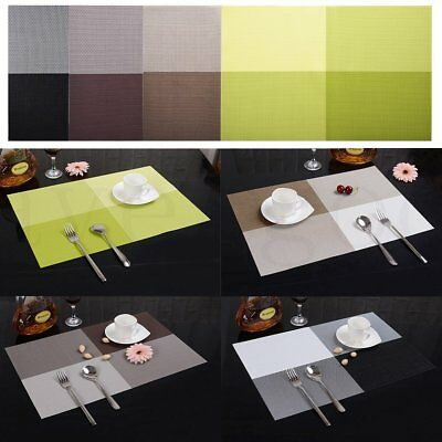 4pcs/set Dining Table Place Mat Vinyl PVC Placemat Pad Weave Woven Effect Modern