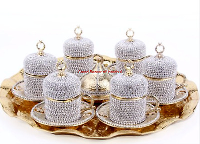 24 Pc Turkish Coffee Tea Cup Saucer CRESCENT STAR Tray Swarovski Set GOLD SILVER
