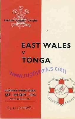 TONGA 1974 RUGBY TOUR PROGRAMME v EAST WALES 14th September, Cardiff