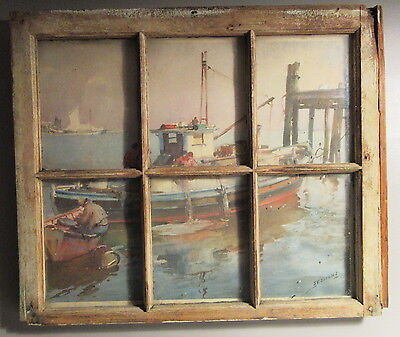 Antique 6 Pane Sash Window w/James Sessions Print Trawler In the Harbor Scene