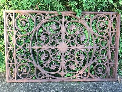 LARGE VICTORIAN Cast Iron Window Grate Antique Architecture Garden Doormat