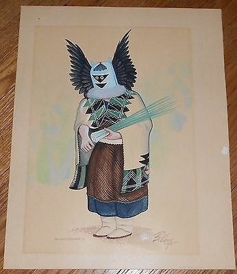 1975 Original Vintage Hopi Kachina Gouache Painting Signed B. Kay Crow Mother