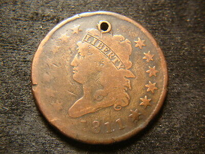 1811 VG F Classic Head Large Cent Superior Planchet Holed NHZ