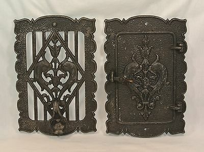 Vintage SPEAKEASY Door Knocker Grill PEEP HOLE Window Hammered Metal
