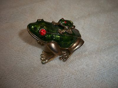 Collectible Enamel Frog with Baby Frog on Back - NR