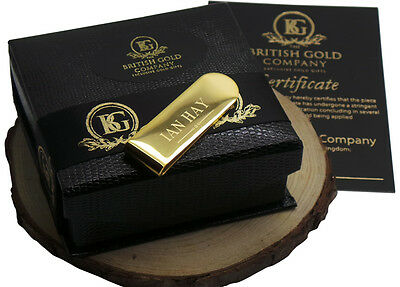 Engraved Money Card Cash Clip Holder 24k Gold Clad in Gift Case Personalised