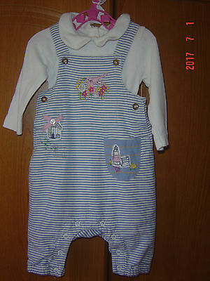 ***MM Girls NEXT Outfit/Set Blue White Striped Dungarees/LS Top Age Up to 3m***