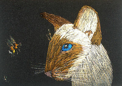 """ACEO Original """"Siamese Cat and Bumblebee"""" Silk Hand Embroidery - A Lobban"""