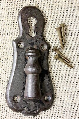 old Keyhole Door Lock Escutcheon Plate double skeleton key swinging iron tassel