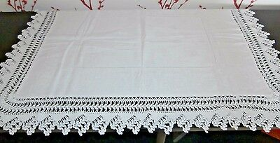 Victorian White Cotton Damask Hand Worked Crochet Lace Tablecloth/table Runner