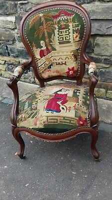 Beautiful Antique  Hand Embroidered French Fauteuil Chaise From Angers France