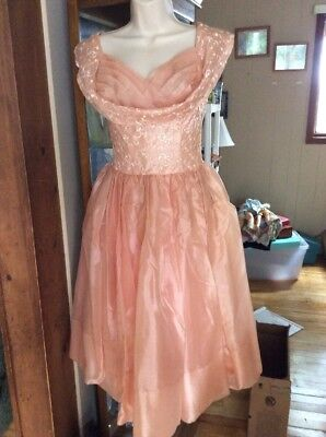 Vintage Peach 50s Swing Dress Rockabilly Evening Party Prom Pinup Retro