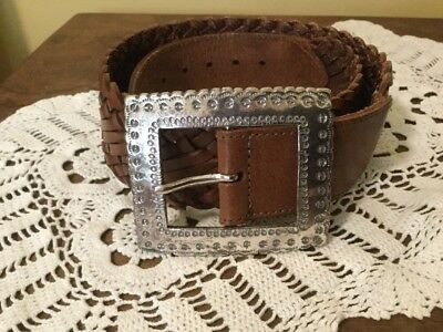 BRIGHTON Small Brown Woven Leather Belt With Silver Toned Buckle