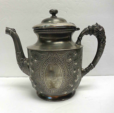 """1890s Toronto Silverplate Company 7-1/2"""" Teapot With Hinged Lid! Lovely Patina!"""