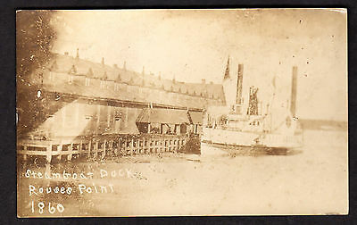 RPPC Steamboat Dock Rouses Point NY Real Photo  Postcard