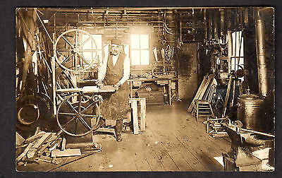 RPPC Old Woodworking Shop Ohio? Real Photo  Postcard