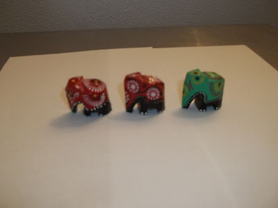 3 Carved Wooden Hand Painted Elephant Min. Figures.