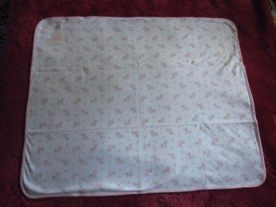 Janie and Jack 100% Cotton Blossom Blanket for Baby White w/Pink Flowers NWT