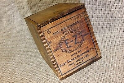 Old wood shipping crate box sliding lid Anti Borax welding compound E-Z 1902 PAT