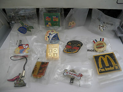 Lot of 13 McDonalds collectible Crew Pins MINT ADVERTISING in packaging