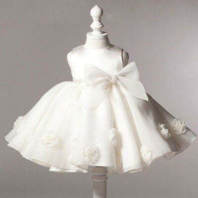 Neborn Baby Girls White Flower Bow Party Princess Prom Wedding Birthday Dresses