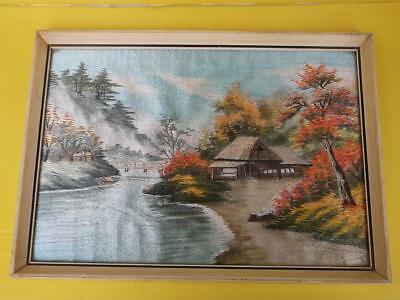 361 / Framed Beautiful Mid 20Th Century Japanese Silk Work Embroidery