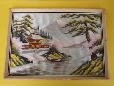 362 / Framed Beautiful Mid 20Th Century Japanese Silk Work Embroidery