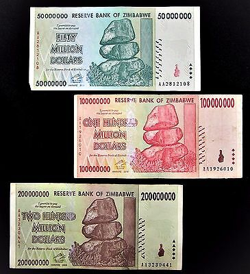 3 Zimbabwe banknotes-1 x 50/100/200 Million dollars -paper money currency