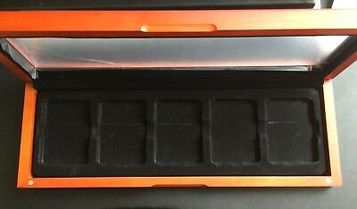 GLASS TOP WOOD DISPLAY BOX for 5 CERTIFIED COIN SLABS from PCGS NGC ICG ANACS